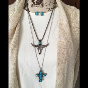 Western Boho Necklace earring turquoise silver lot